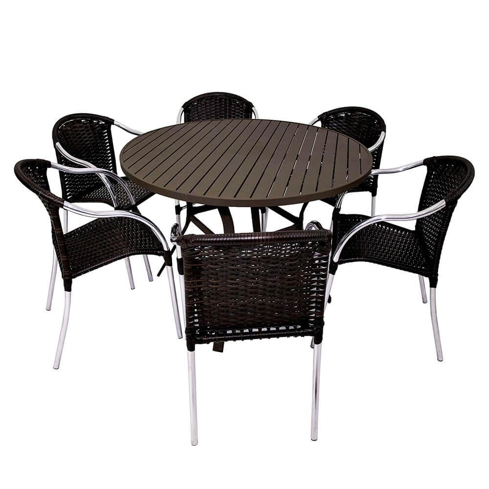 Conjunto Calais mesa ripada 1.20 + 6 cadeiras empilháveis