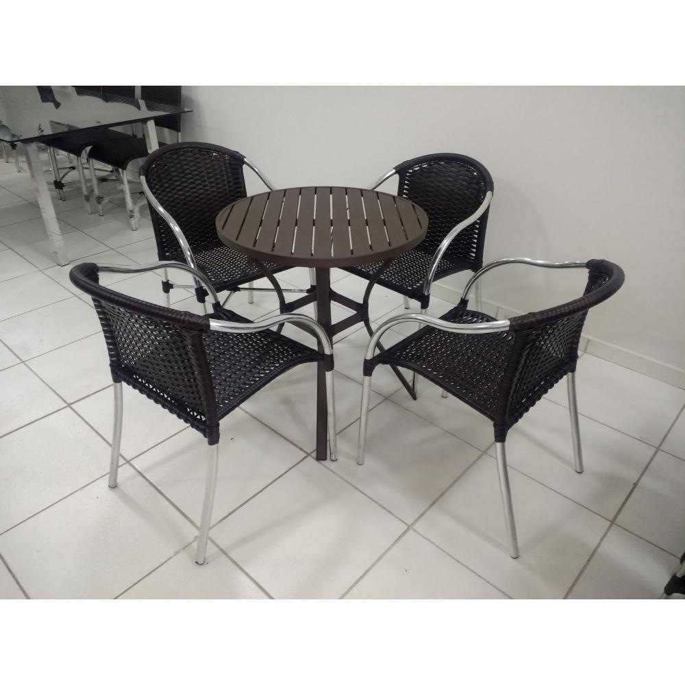 Conjunto de mesa em alumínio c/ 4 cadeiras