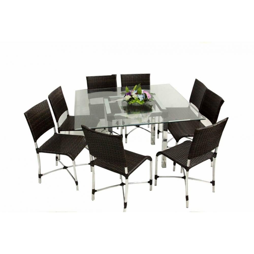 Conjunto 8 lugares / Cadeira alpinea / mesa tubo 5 X5 - 70 x 70