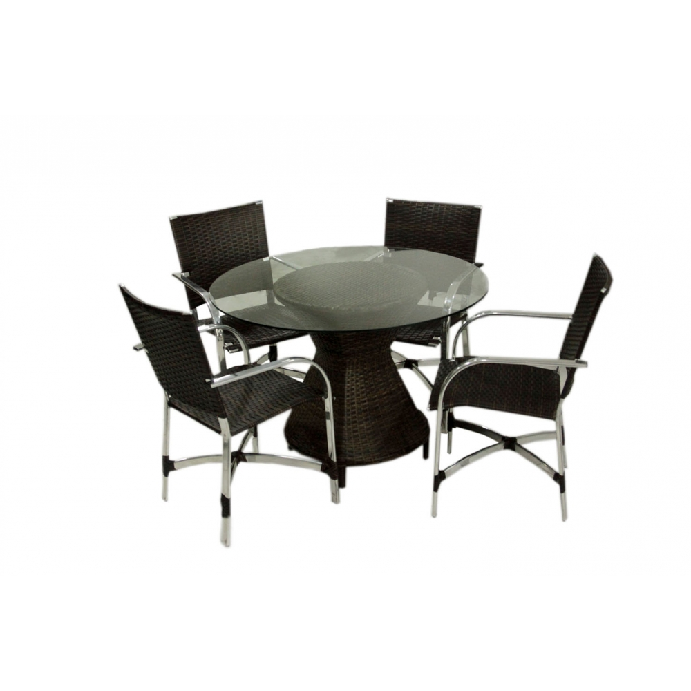Conjunto composto de mesa Vitale aro 60 + 4 cadeiras Savana