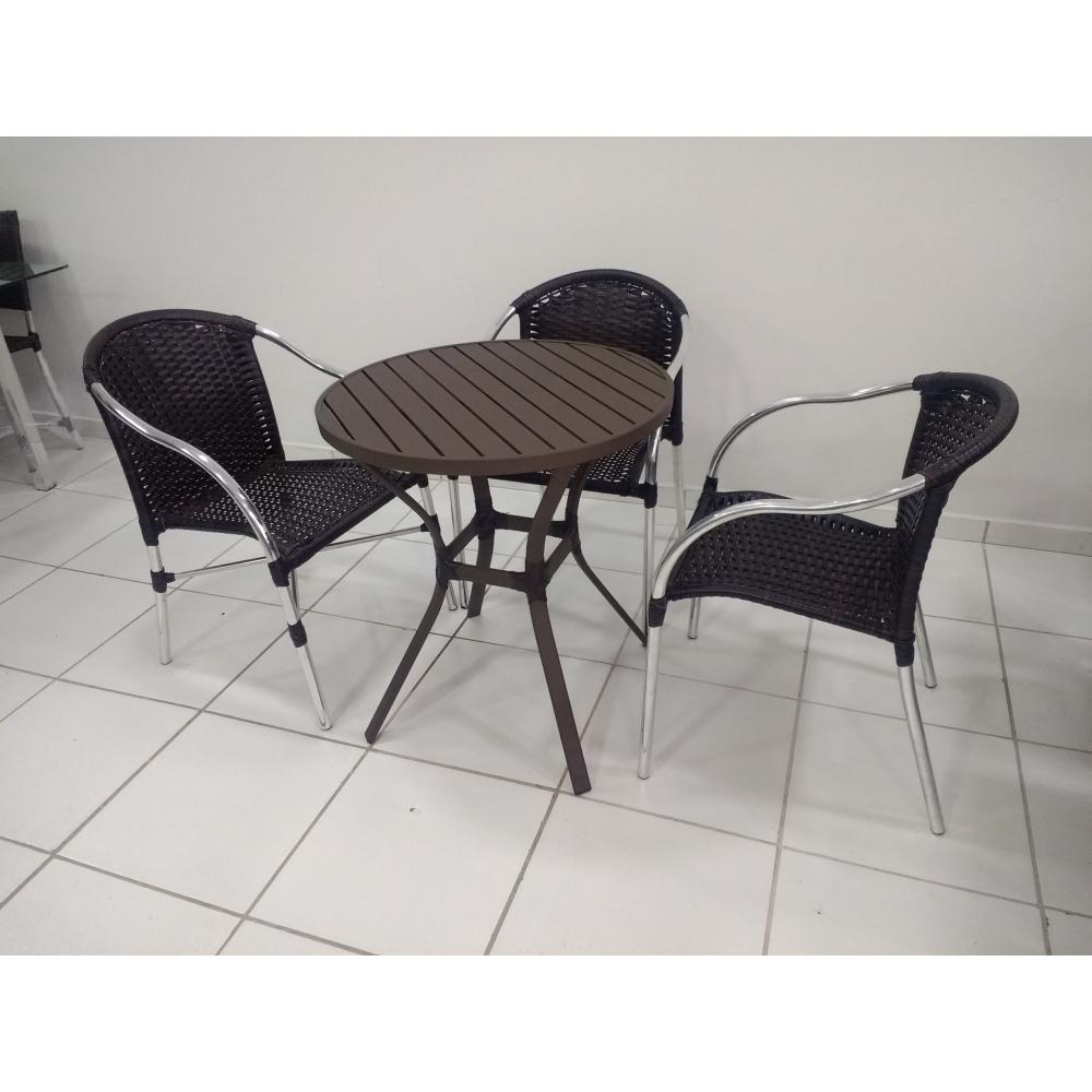 Conjunto de mesa em alumínio c/ 3 cadeiras